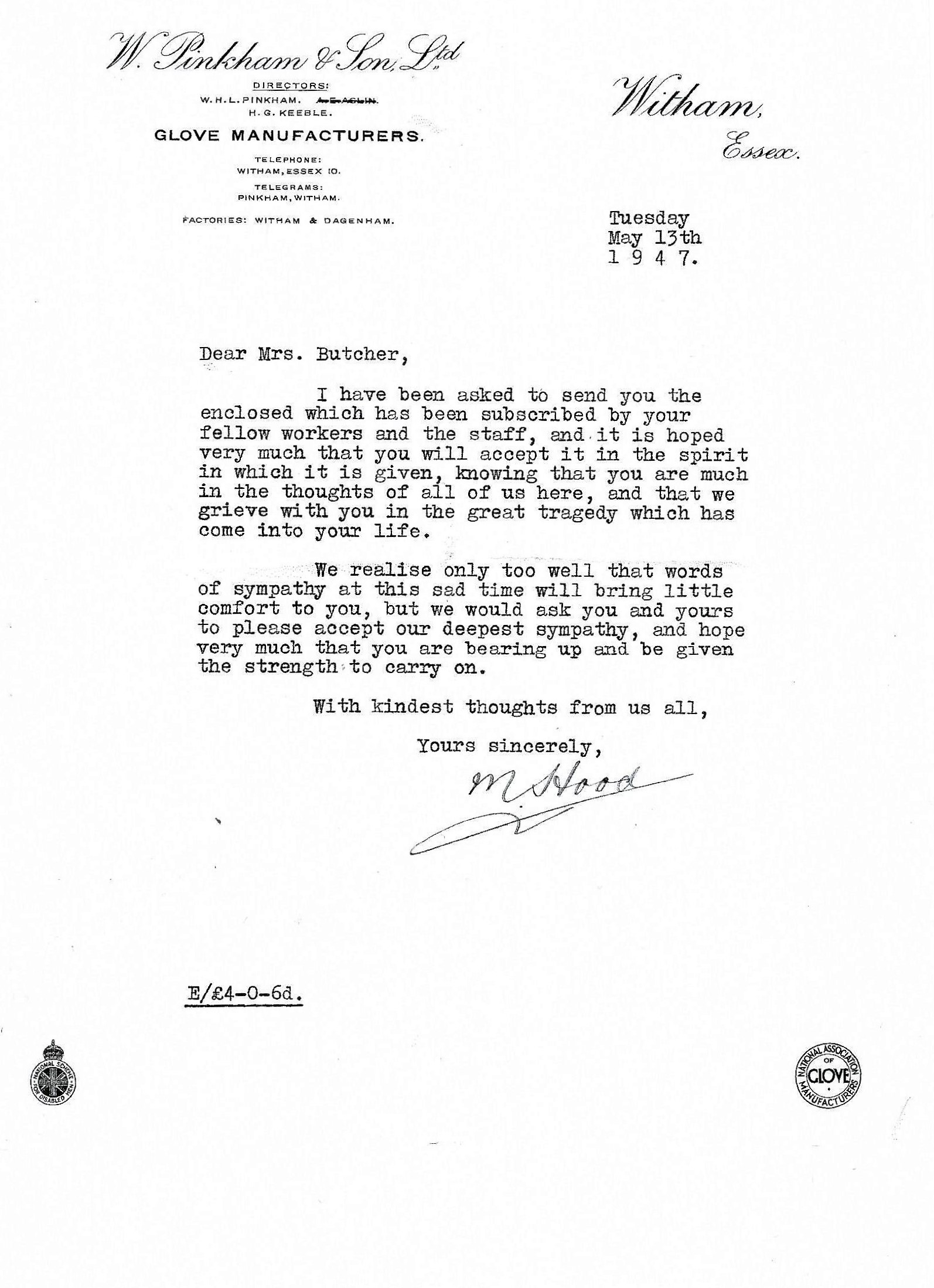 Letter M Hood to Mrs Butcher