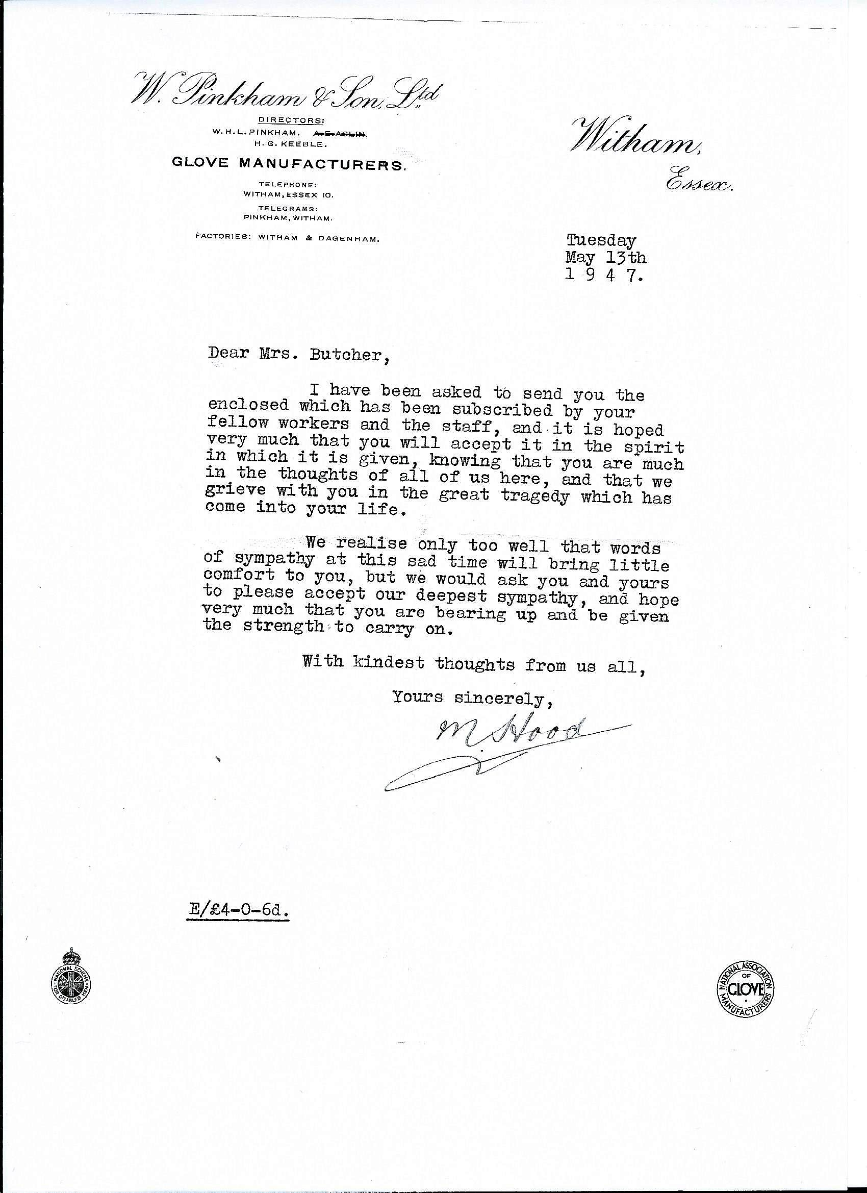 Letter M Hood to Mrs Butcher May 1947