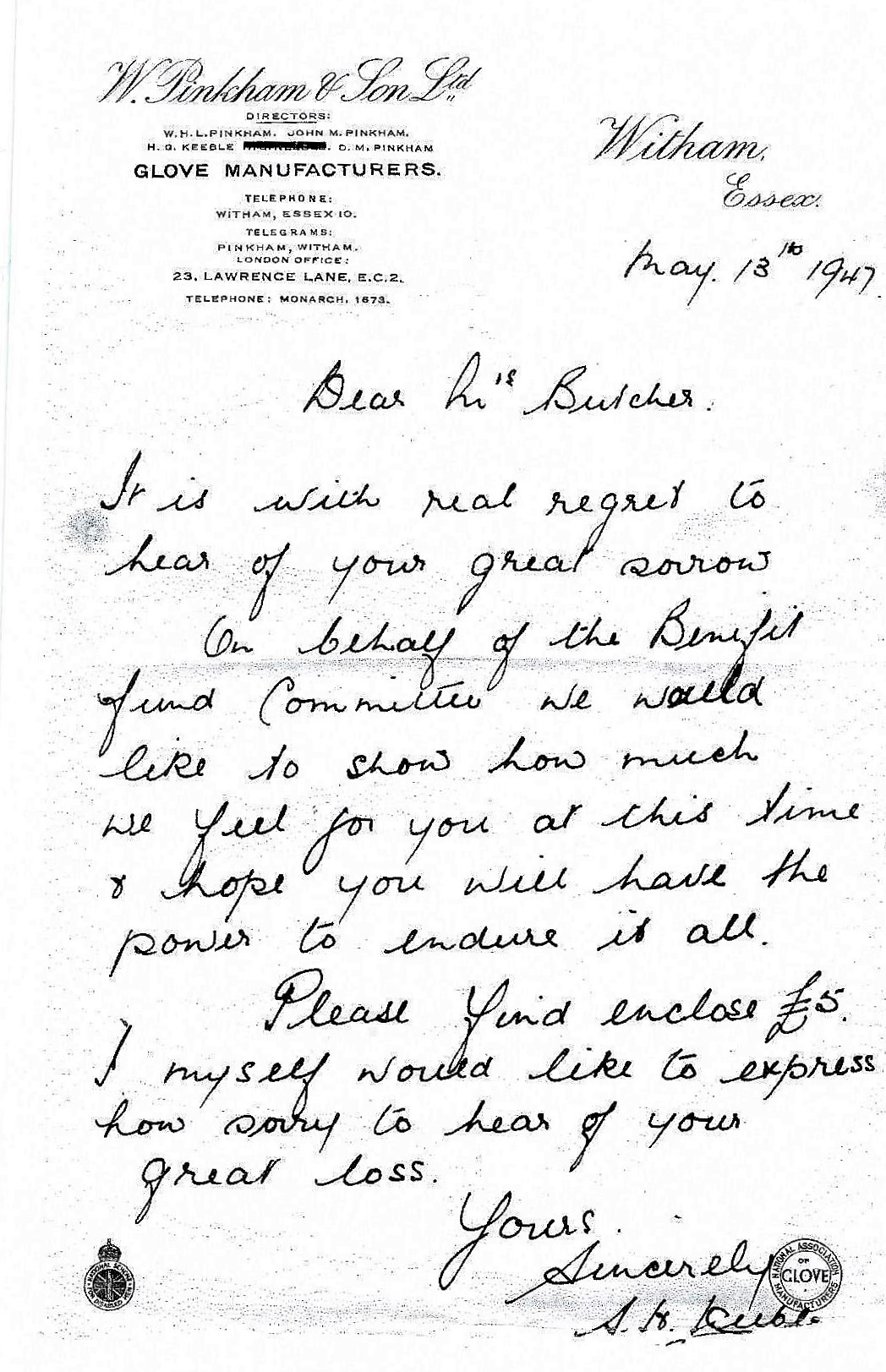 Letter Keeble to Mrs Butcher May 1947