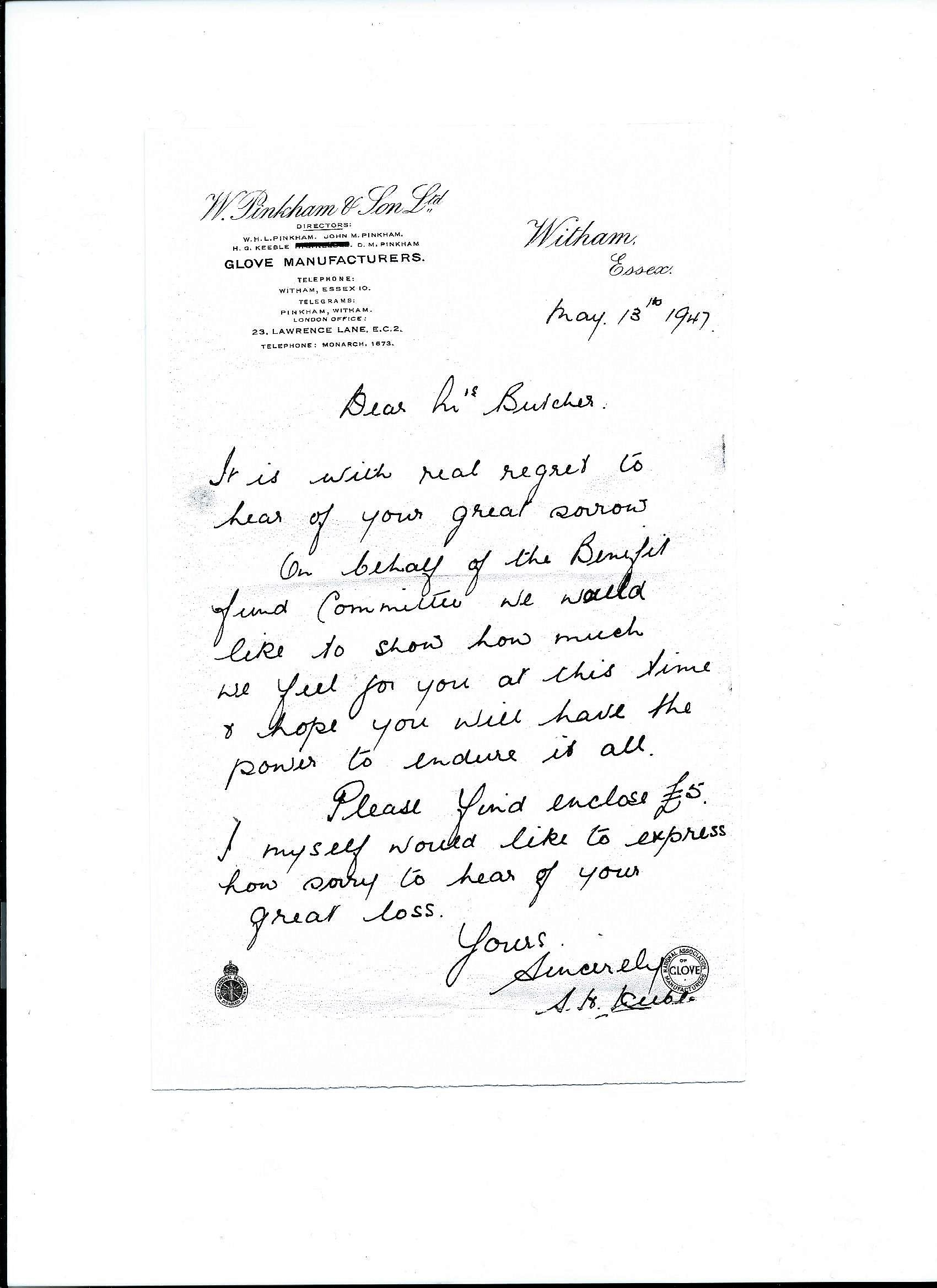 Letter S Keeble to Mrs Butcher May 1947
