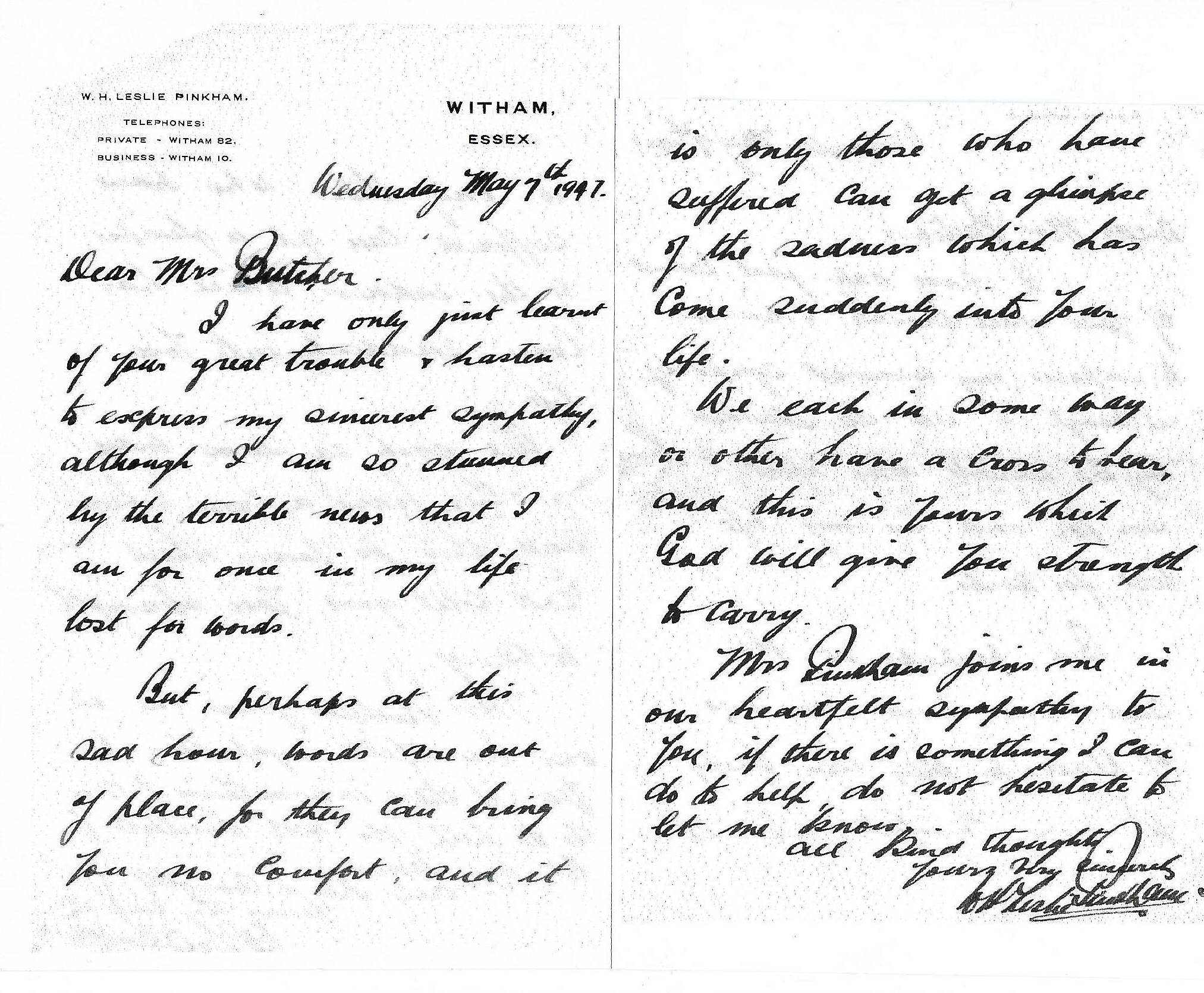 Letter WHLP to Mrs Butcher