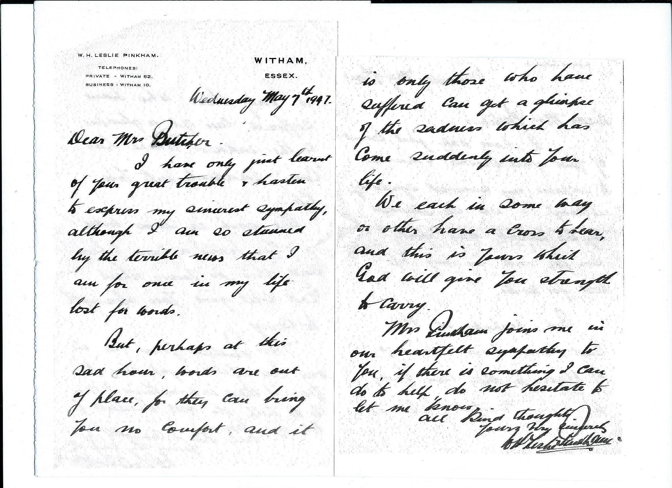 Letter WHLP to Mrs Butcher May 1947