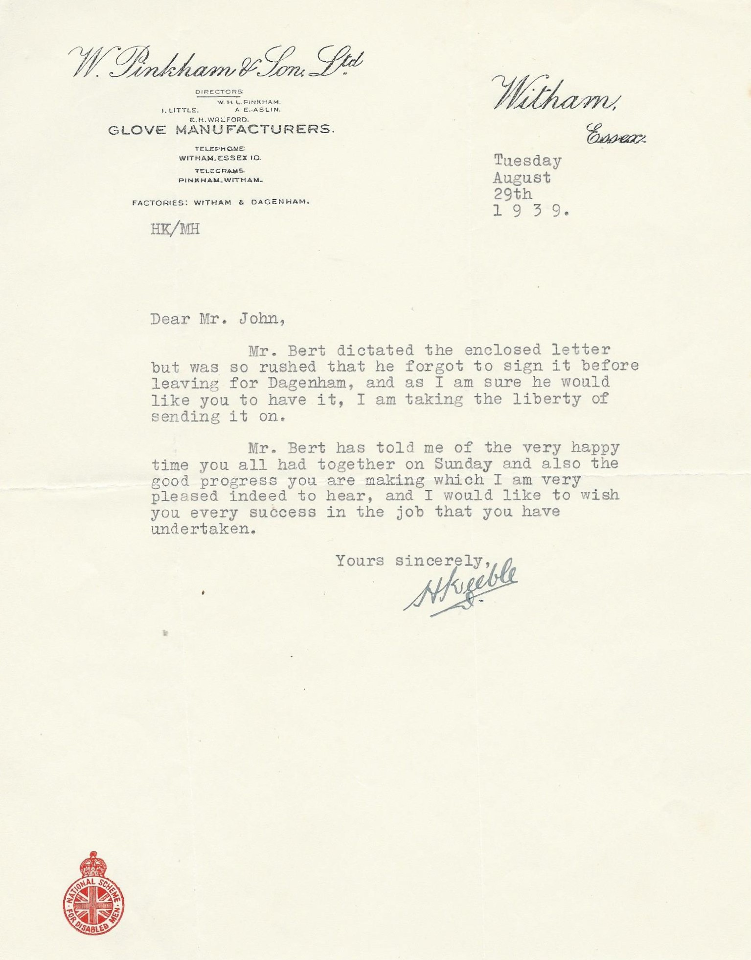Mr Keeble letter 081939