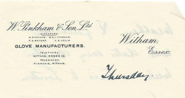 W Pinkham & Son Headed paper 1932