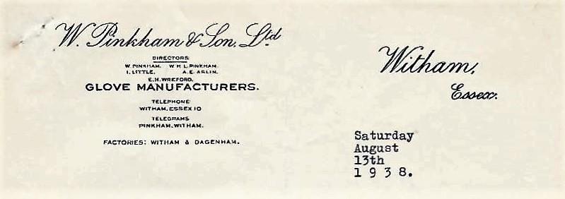 W Pinkham & Son Headed paper 1938