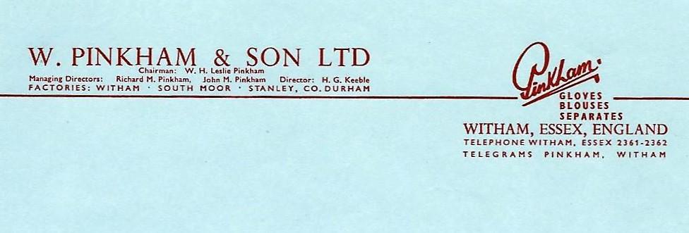 W Pinkham & Son Headed paper c1960