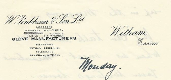 W Pinkham & Sons Ltd note paper 1934