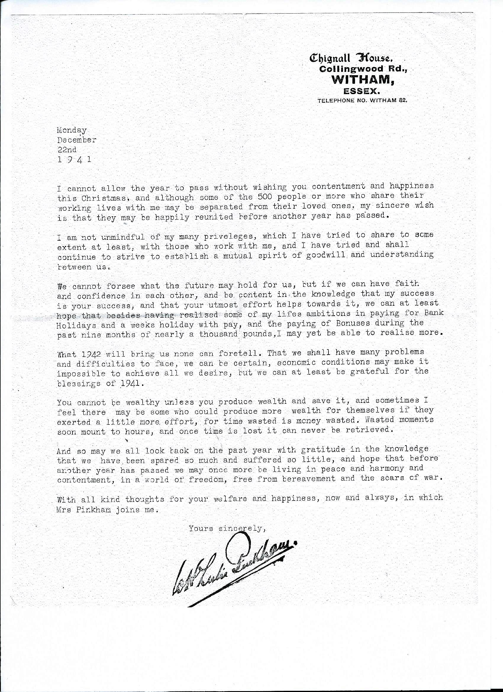 WHLP letter to staff December 1941