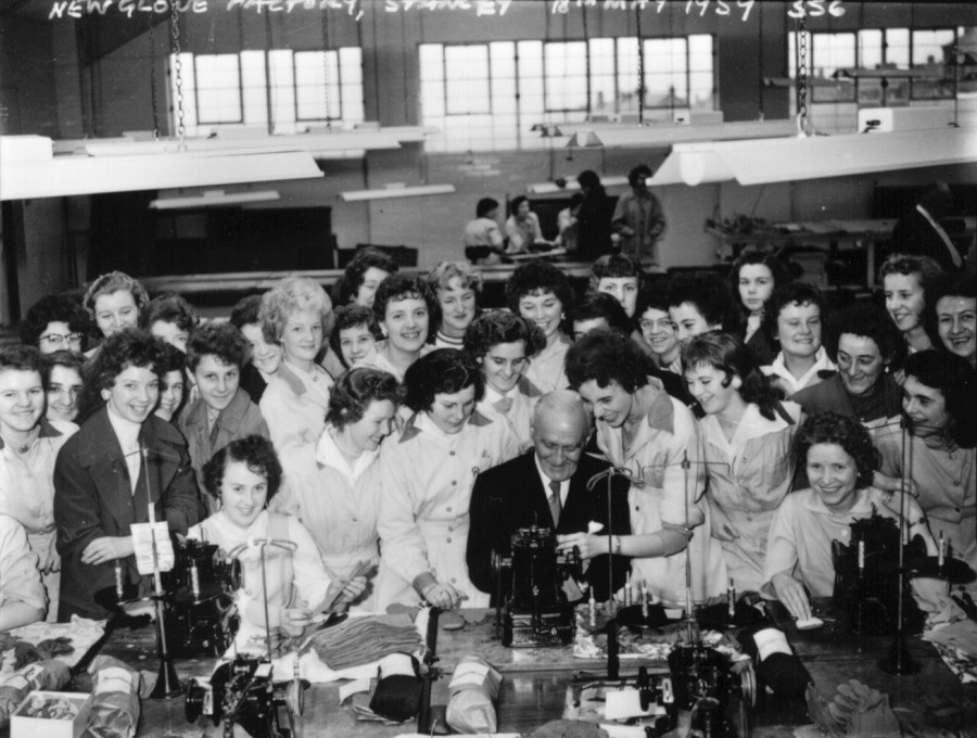 17. opening of pinkhams glove factory at stanley 1959