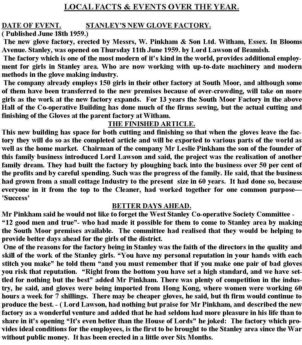 Stanley press release 19061959Glove Factory